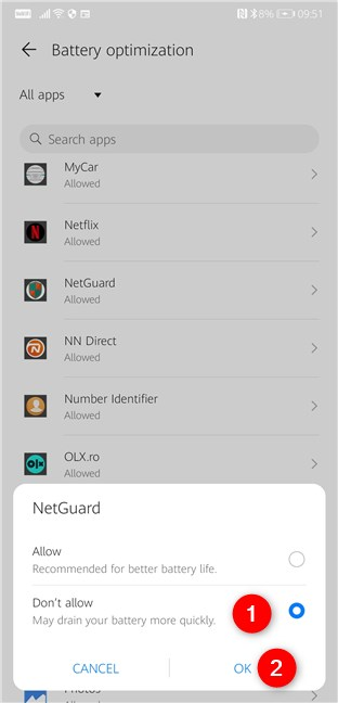 No permita que su teléfono Android optimice el consumo de batería de NetGuard