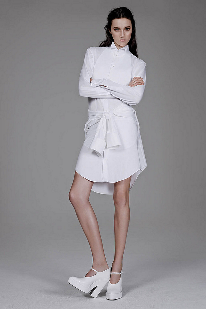 Le Fashion Blog All White Everything The Wall Street Journal Armani Shirt Tied Around Waist Alexander Wang Patent Platform Mary Janes Simplicity of the White Shirt WSJ Magazine Spring 2014 Photographer Ben Weller Stylist Zara Zachrisson Models Matilda Lowther and Charlotte Wiggins Romantic Natural Beauty Hair 3 photo Le-Fashion-Blog-All-White-Everything-The-Wall-Street-Journal-ArmaniShirt-3.png