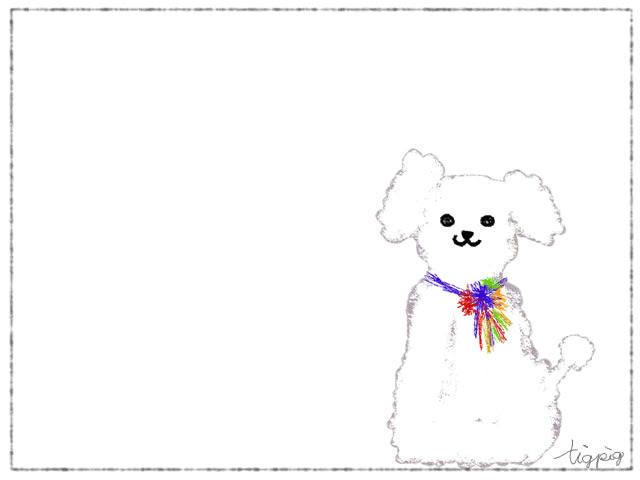 大人可愛いフリー素材ふわふわもこもこのプードル犬のフレーム640