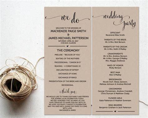 Ceremony Programs, Wedding Program Template, Ceremony