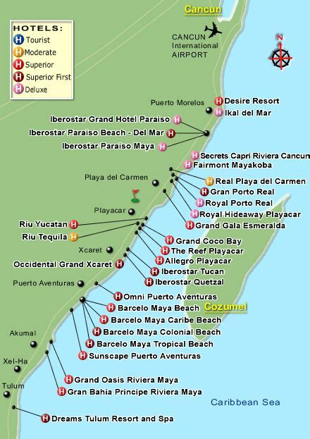 map of resorts Riveria Maya Playa del Carmen  We are