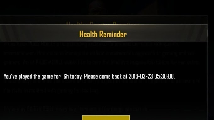 PUBG Mobile health reminders  testing and 6-hour daily limit in India