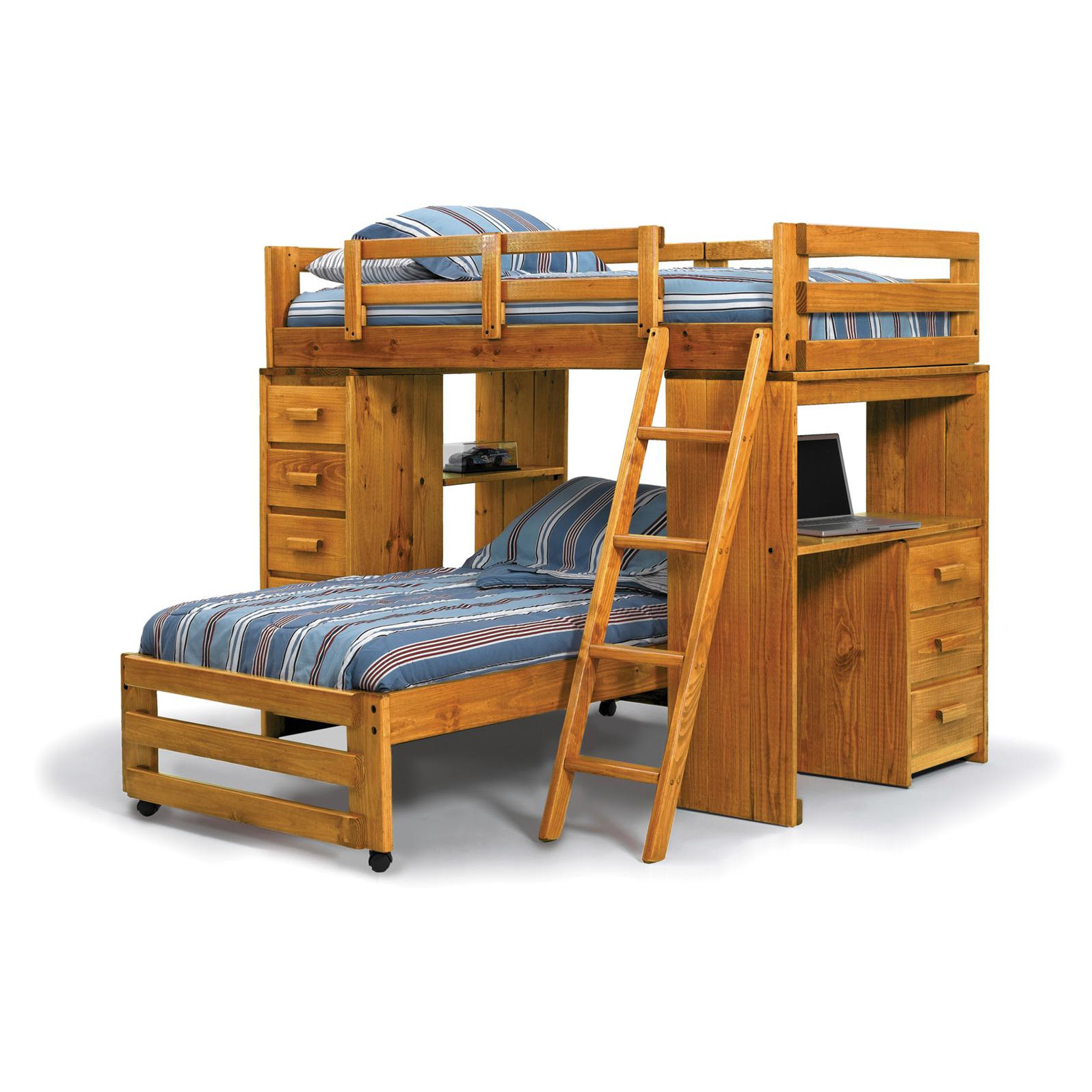 twin size bed over bunk with desk and stairs