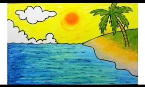 Pantai Gambar Pemandangan Yang Mudah Digambar Beserta Warnanya Tukangpantai