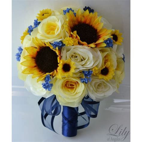 Yellow Royal blue Ivory Fall Sunflower   wedding flowers