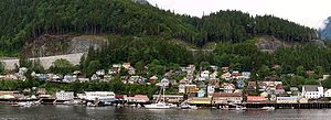 English: View of the shoreline of Ketchikan, A...
