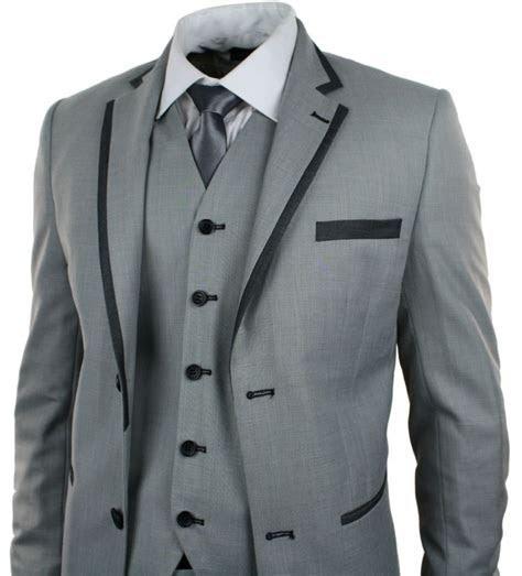 Mens Light Grey 3 Piece Suit Charcoal Trim Prom Wedding