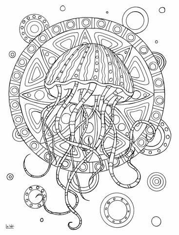 jellyfish with tribal pattern coloring page  free printable coloring pages