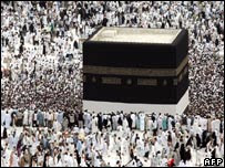 Thousands of Muslim pilgrims surround the Kaaba in Mecca