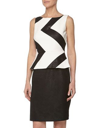 Muse Zigzag Peplum Faux Leather Dress