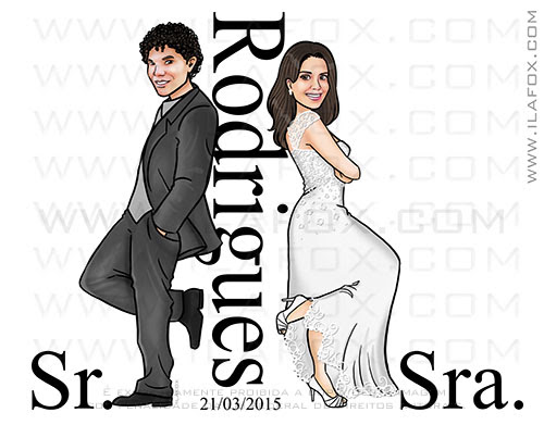 caricatura proporcional, caricatura casal, caricatura noivos, caricatura sr e sra smith, caricatura para casamento by ila fox
