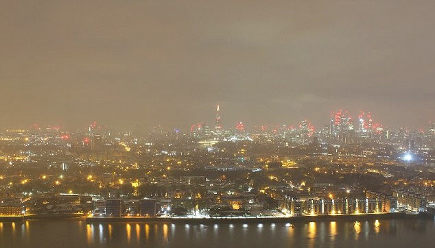In the time-lapse video, you can see snow cover London in a thick white blanket, with the Shard, Walkie Talkie, Gherkin and South Bank clearly visible