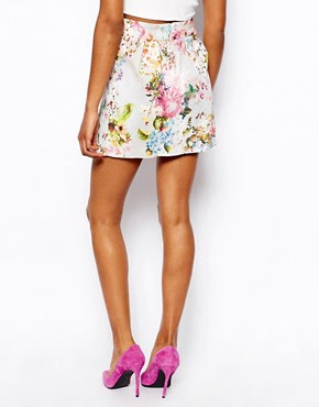 Image 2 of River Island Pretty Floral Print Mini Skirt