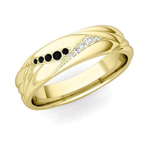 Wave Mens Wedding Band in 14k Gold Black Diamond Ring My Love