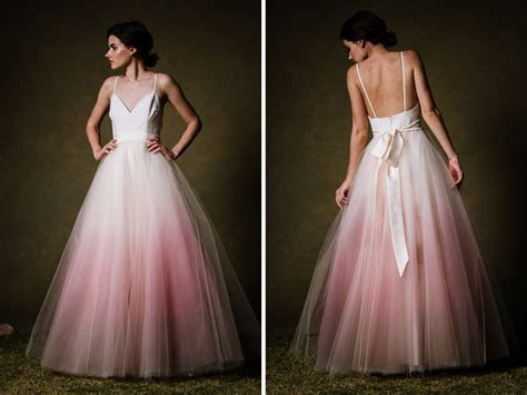 Vestidos de noiva colorido com efeito dip dye para