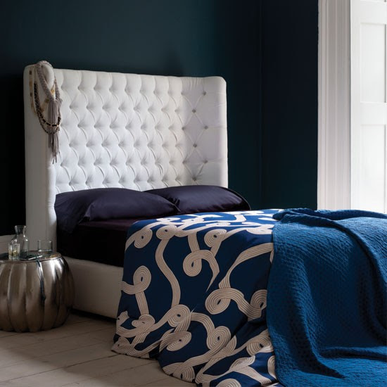 Dramatic blue bedroom | Bedroom decorating ideas | Bedroom | Livingetc | IMAGE | Housetohome.co.uk