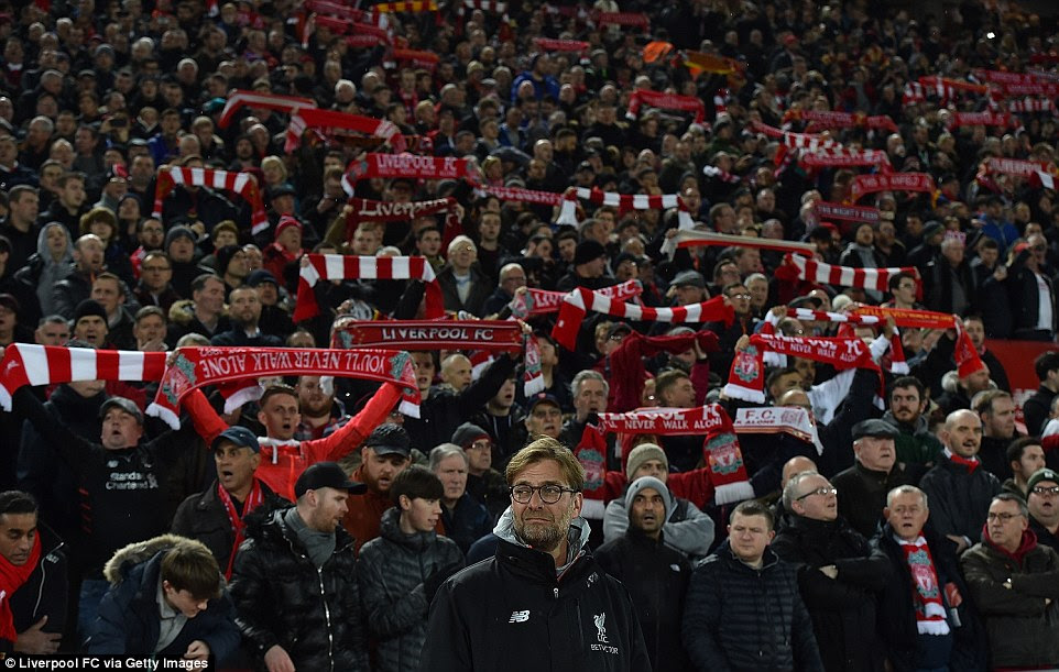 The Liverpool supporters were in fine voice prior to kick-off as the club's manager Klopp looks on from the sideline