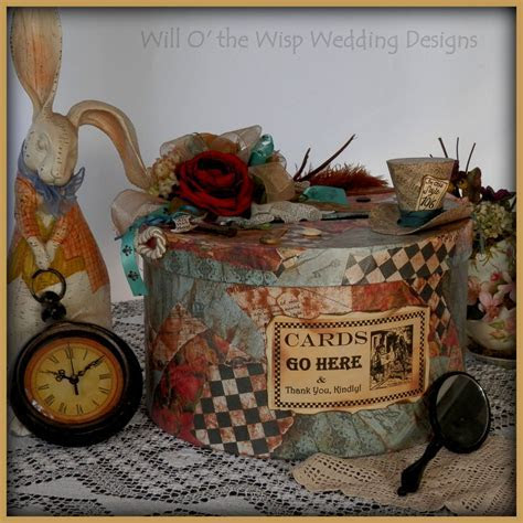 MAD HATTER WEDDING card hat box Alice in Wonderland theme