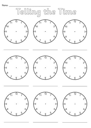 Blank Clocks Worksheet by Simon_H - Teaching Resources - TES