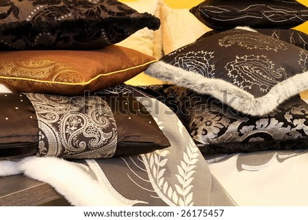 Bunch Of Soft Decorative Pillows At Bed Stock Photo 26175457 ...