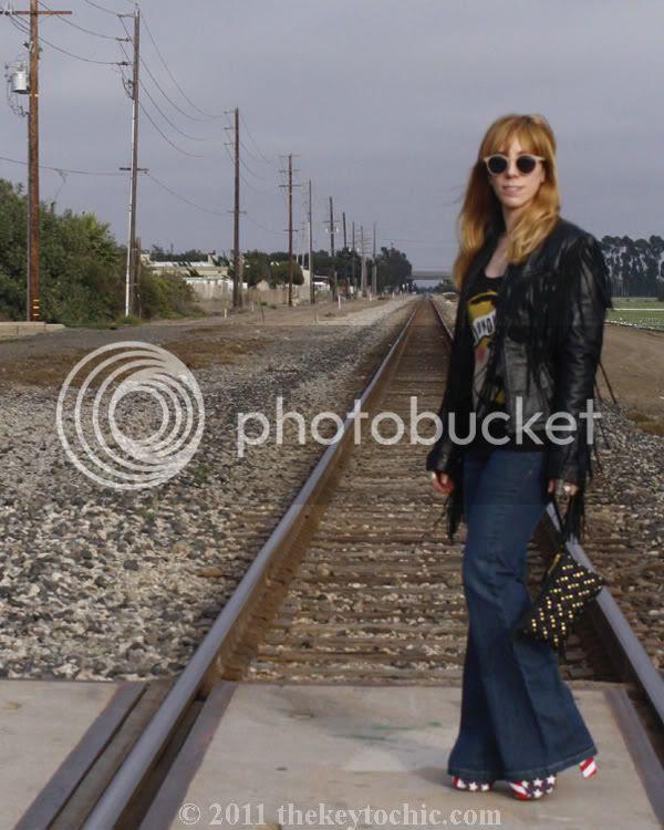 fringe biker jacket, flared H&M jeans, Jeffrey Campbell Foxy flag stars and stripes, California fashion blog