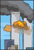 Burning World Trade Center towers