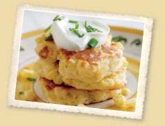 Corn Pancakes with Sour Cream and Chives