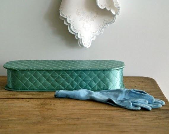 1940s-50s quilted aqua blue satin glove box