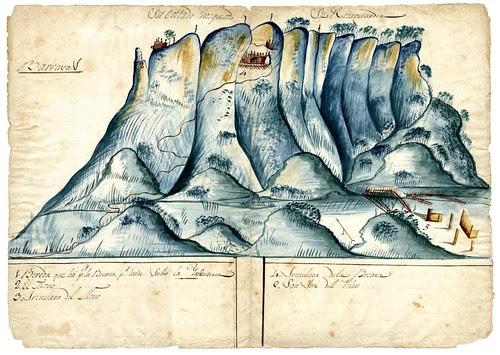 Mapa del Cerro de Barrabás donde se fortificó Don Vicente Guerrero después de retirarse de Zacatula, Mayo 1819