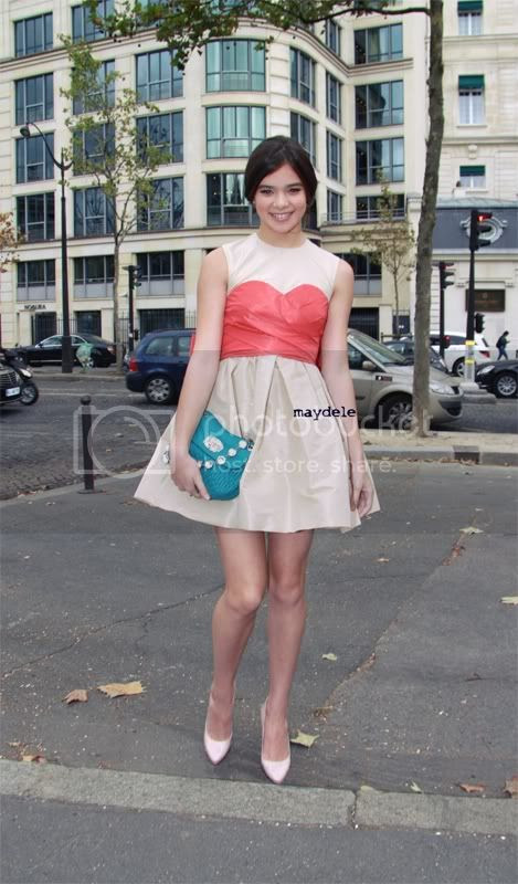 Hailee Steinfeld arriving at the Miu Miu spring summer 2012 fashion show, wearing a Miu Miu dress
