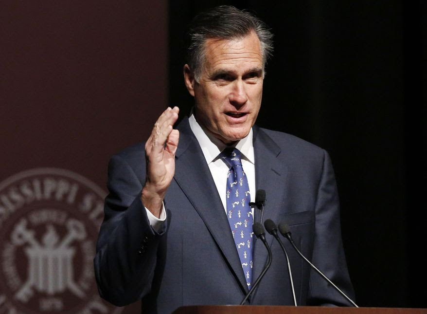 Former GOP presidential candidate Mitt Romney speaks at Mississippi State University in Starkville, Miss., on  Jan. 28, 2015. (Associated Press) **FILE**