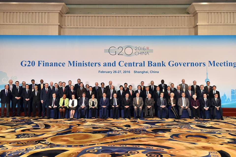 G-20 officials at the G-20 Finance Ministers and Central Bank Governors Meeting in Shanghai Saturday.