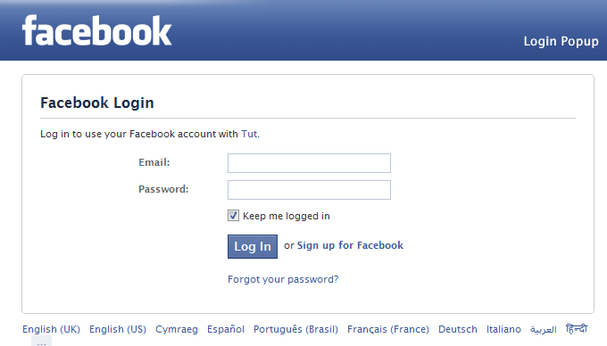 Facebook app login popup