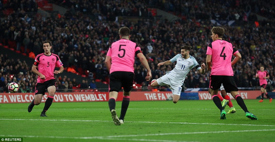 Adam Lallana was left unmarked as he rose to head Danny Rose's cross into the far corner to double England's lead