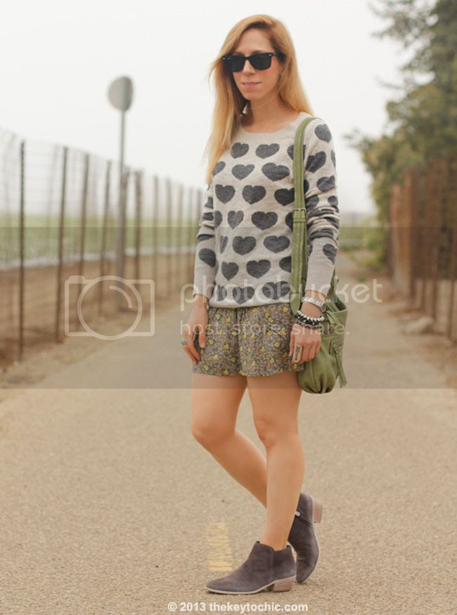 Los Angeles fashion blogger wearing Mossimo heart print sweater, floral challis shorts, Sam Edelman Petty boots in New Navy