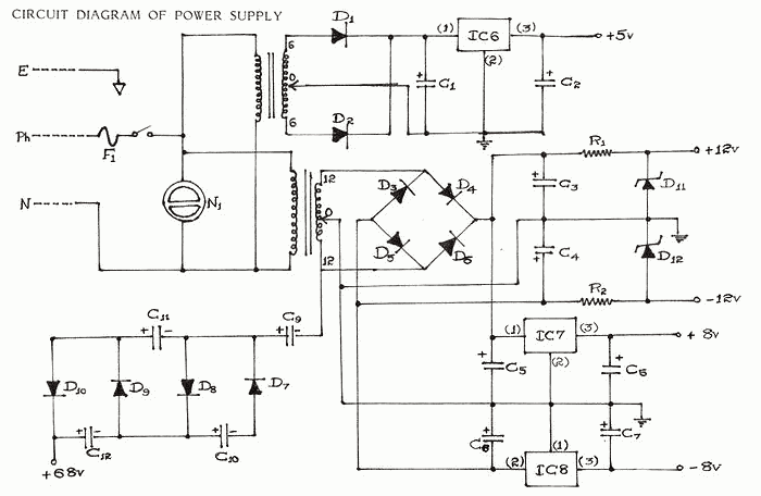 schematics of delabs multi output instrument power supply
