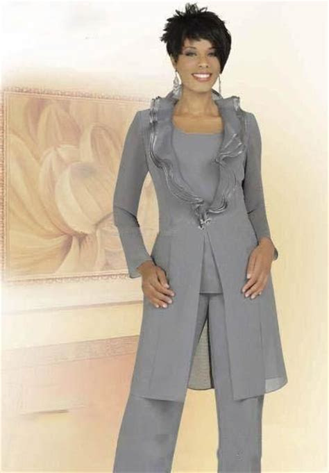 2018 Cheap Gray Chiffon Mother of the Bride Pant Suits