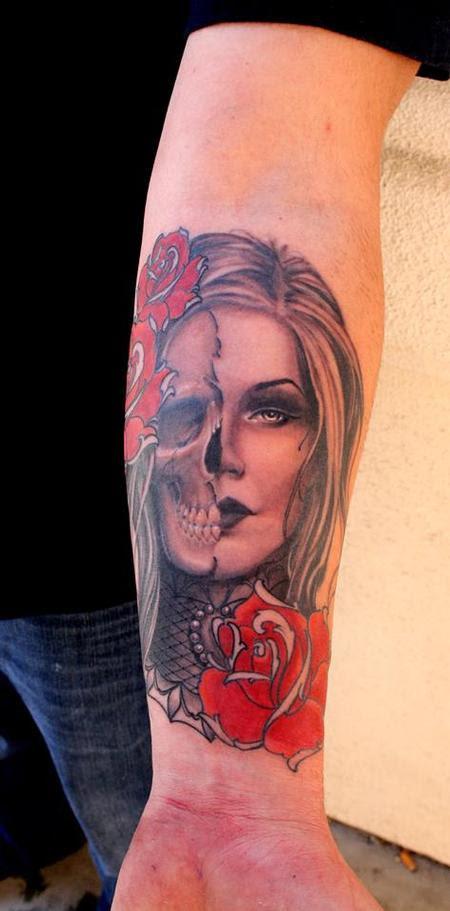 Jeff Norton Tattoos Tattoos Feminine Half Skull Half Girl Portait