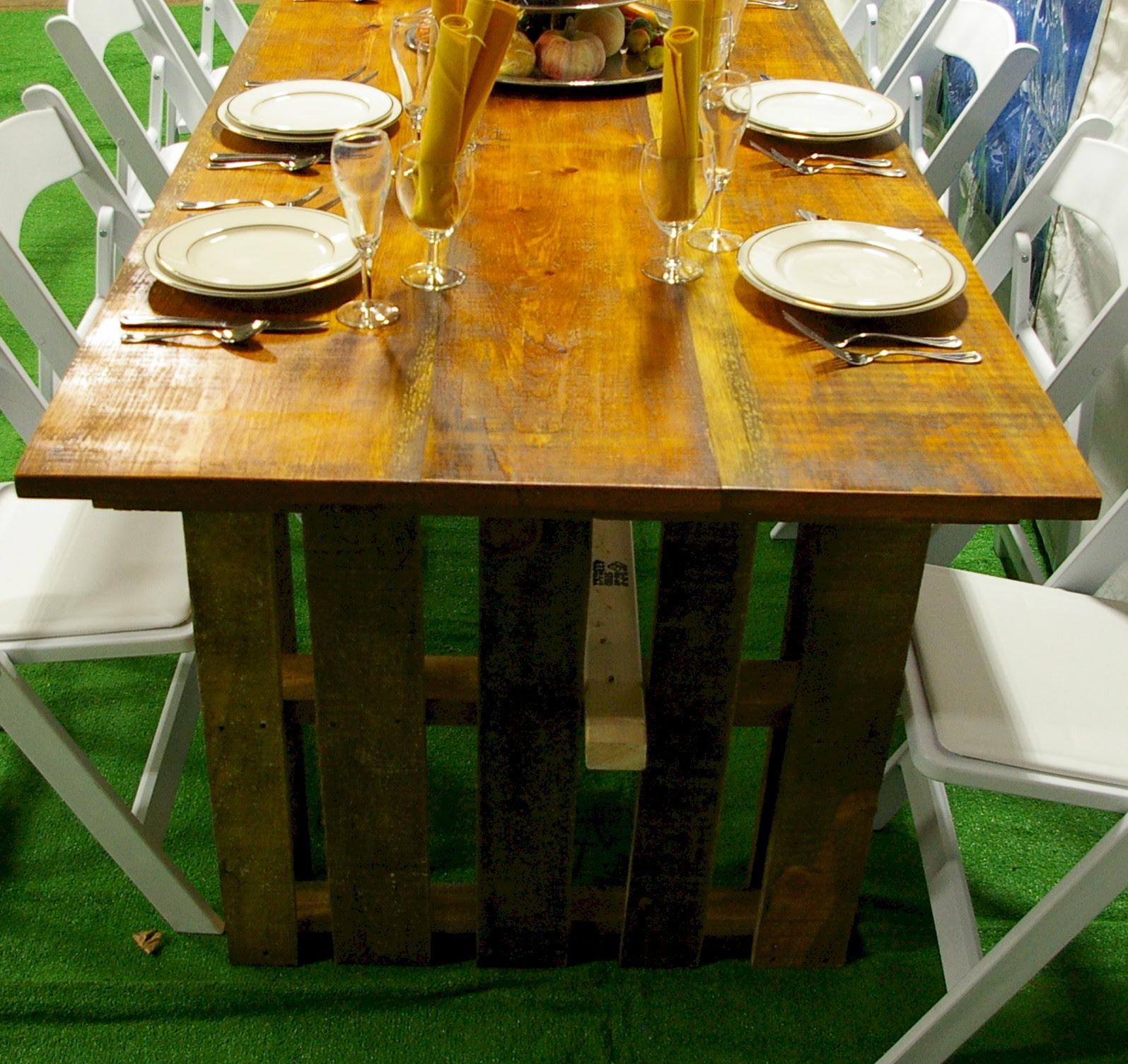 Rustic Wooden Farm Table - Taylor Rental of Torrington