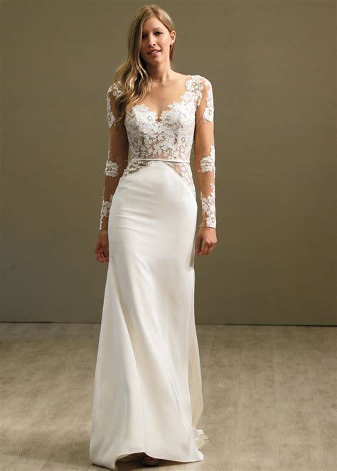 Hayley Paige Glamorous Long Sleeve Sheath Wedding Gown