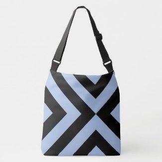 Geometric Light Blue and Black Chevrons Tote Bag