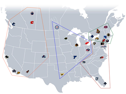 NHL 2012-13 NHL Division Realignment Map Proposal, NHL 2012-13 NHL Division Realignment Map Proposal