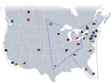 NHL 2012-13 NHL Division Realignment Map Proposal, NHL 2012-13 NHL Division Realignment Map Proposal