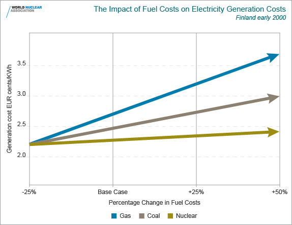 The impact of fuel costs on electricity generation costs