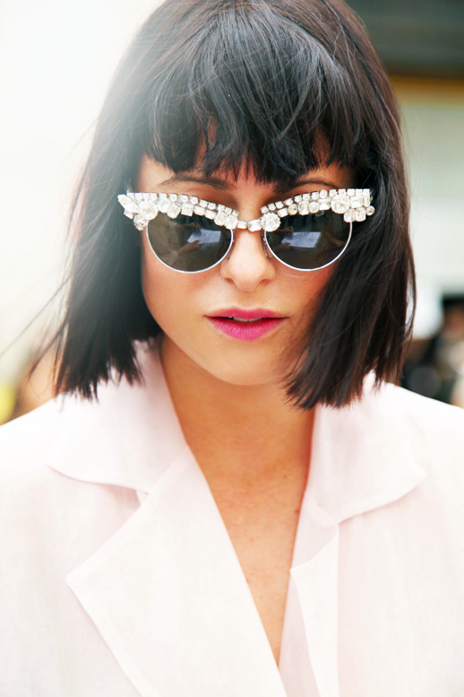 LE FASHION BLOG NYFW NEW YORK FASHION WEEK STREET STYLE BEJEWELED VIA ELLE STREET CHIC GEM JEWEL EMBELLISHED WHITE CAT EYE SUNGLASSES SHORT BOB BANGS SOPHIA AMORUSO NASTY GAL WHITE BLOUSE