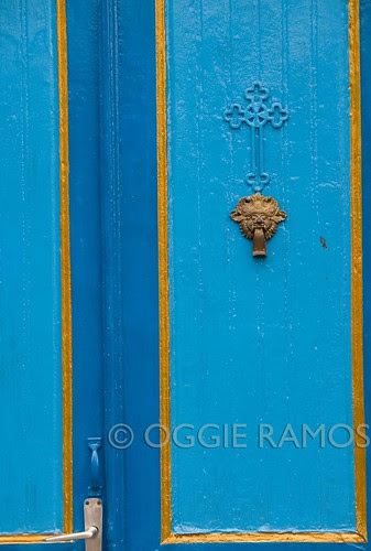 Indonesia - Solo Kraton Blue Door with Cross and Barong