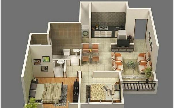 Desain Rumah Minimalis Type 45 2 Kamar Tidur - Mudik Lebaran