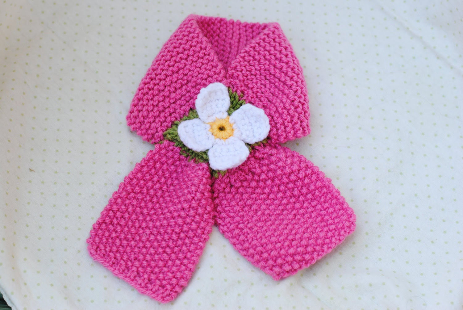 Child's Hand-knit Pink  Crossover Scarf with Daisy