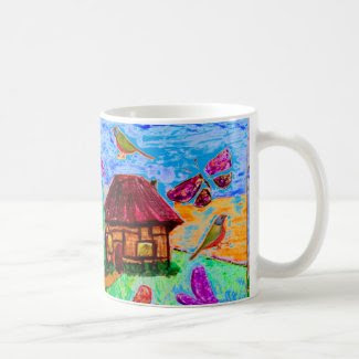 Fanciful Folk Art on Coffee/Tea Mug