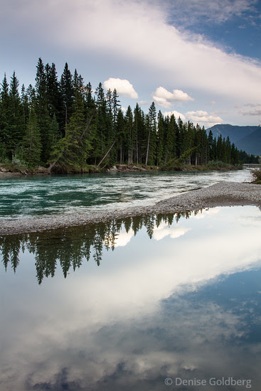 late day light and reflections, Bow River, Canmore
